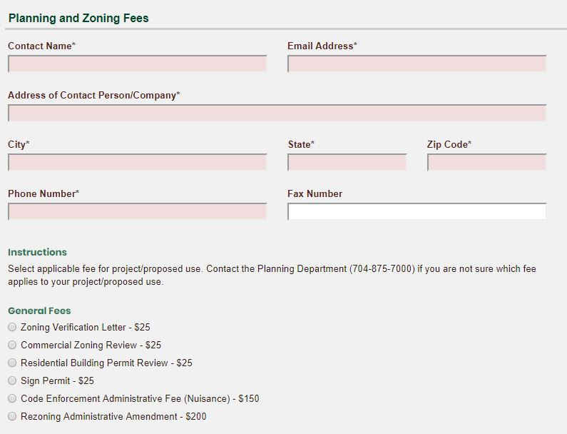 Planning and Zoning Fees