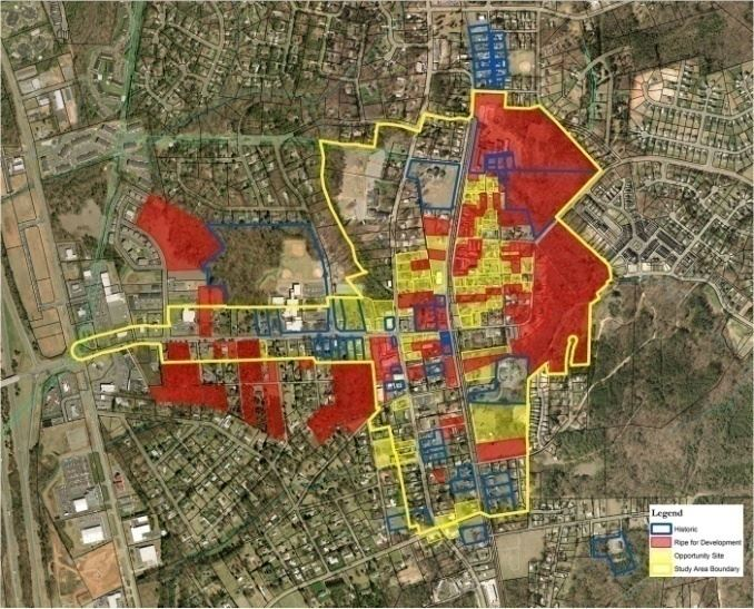 Map H-6 Redevelopment Areas Identified in the Huntsville Downtown Master Plan