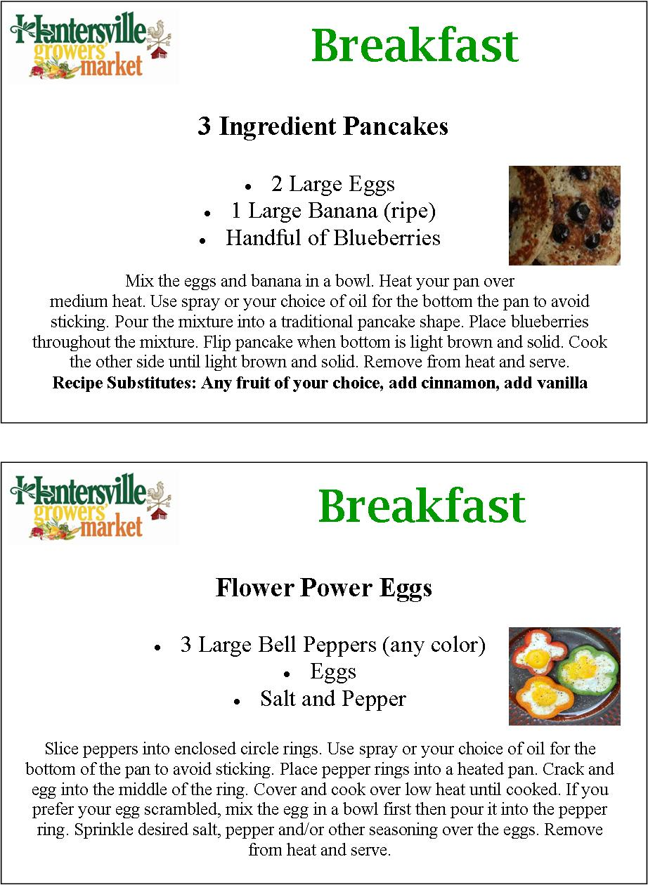 Detailed pancake and flower power eggs recipes